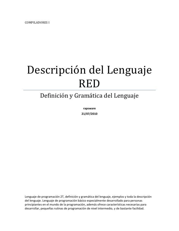 Descripción del lenguaje red