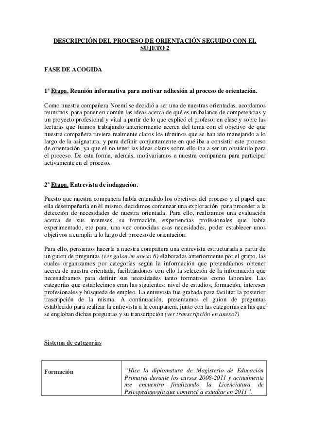 DESCRIPCIÓN DEL PROCESO DE ORIENTACIÓN SEGUIDO CON ELSUJETO 2FASE DE ACOGIDA1ª Etapa. Reunión informativa para motivar adh...