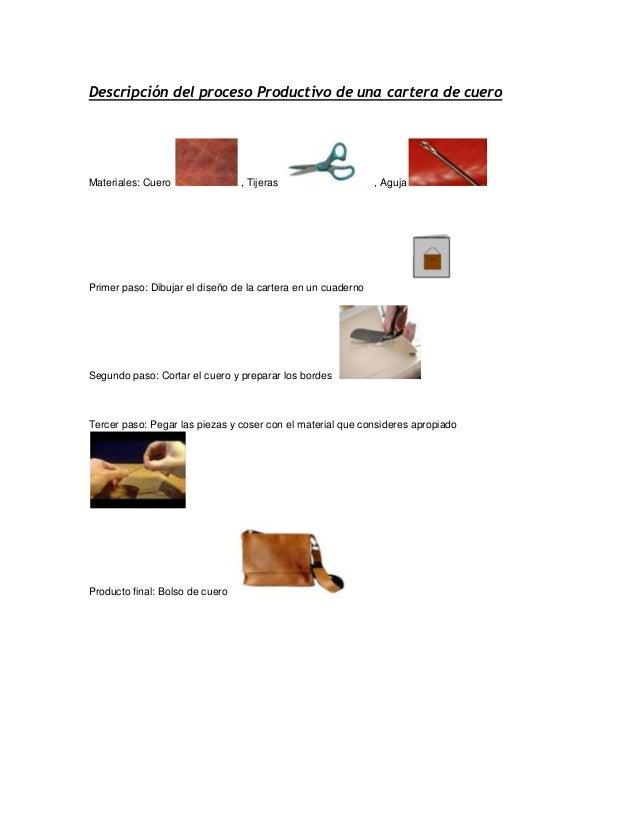 descripci n del proceso productivo de una cartera de cuero