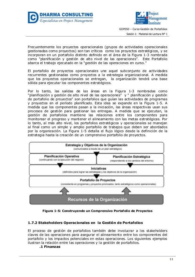 GOP050 – Curso Gestión de PortafoliosSesión 1: Material de Lectura Nº 111Frecuentemente los proyectos operacionales (grupo...