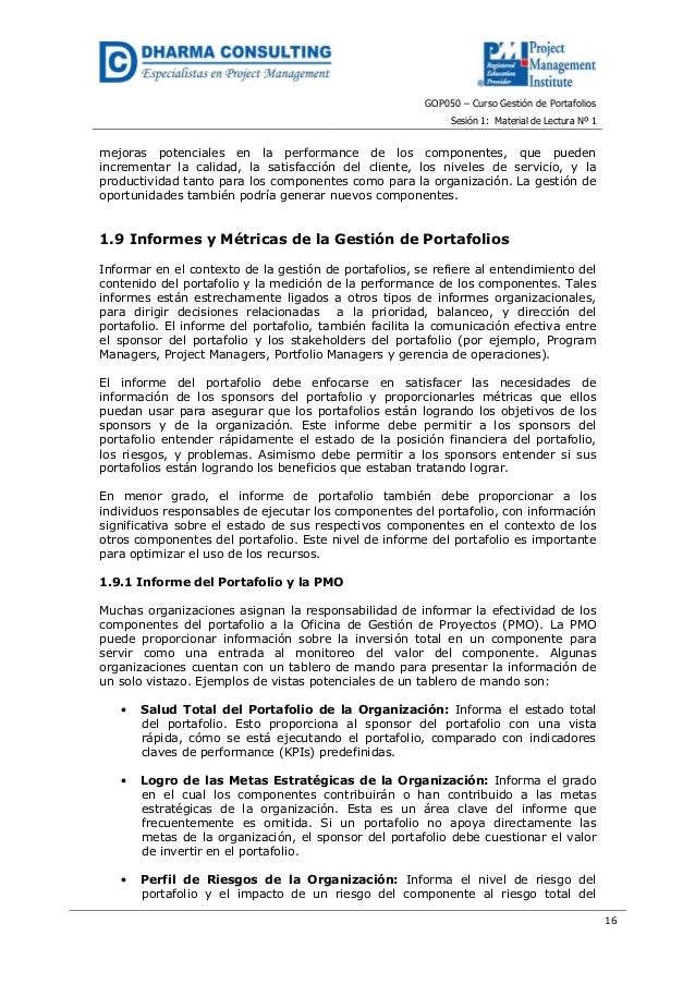 GOP050 – Curso Gestión de PortafoliosSesión 1: Material de Lectura Nº 116mejoras potenciales en la performance de los comp...