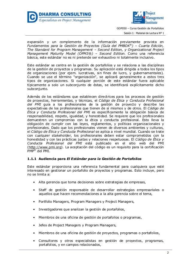 GOP050 – Curso Gestión de PortafoliosSesión 1: Material de Lectura Nº 12expansión y un complemento de la información previ...