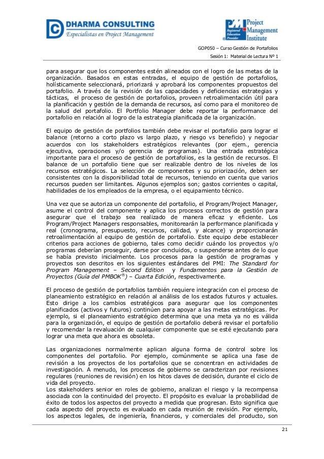 GOP050 – Curso Gestión de PortafoliosSesión 1: Material de Lectura Nº 121para asegurar que los componentes estén alineados...