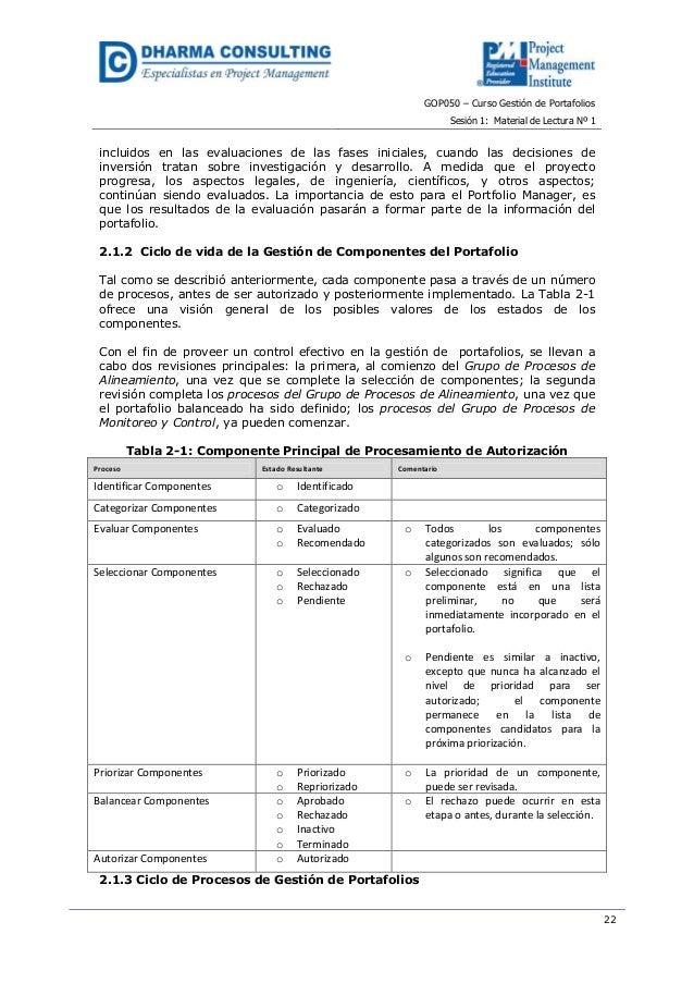 GOP050 – Curso Gestión de PortafoliosSesión 1: Material de Lectura Nº 122incluidos en las evaluaciones de las fases inicia...