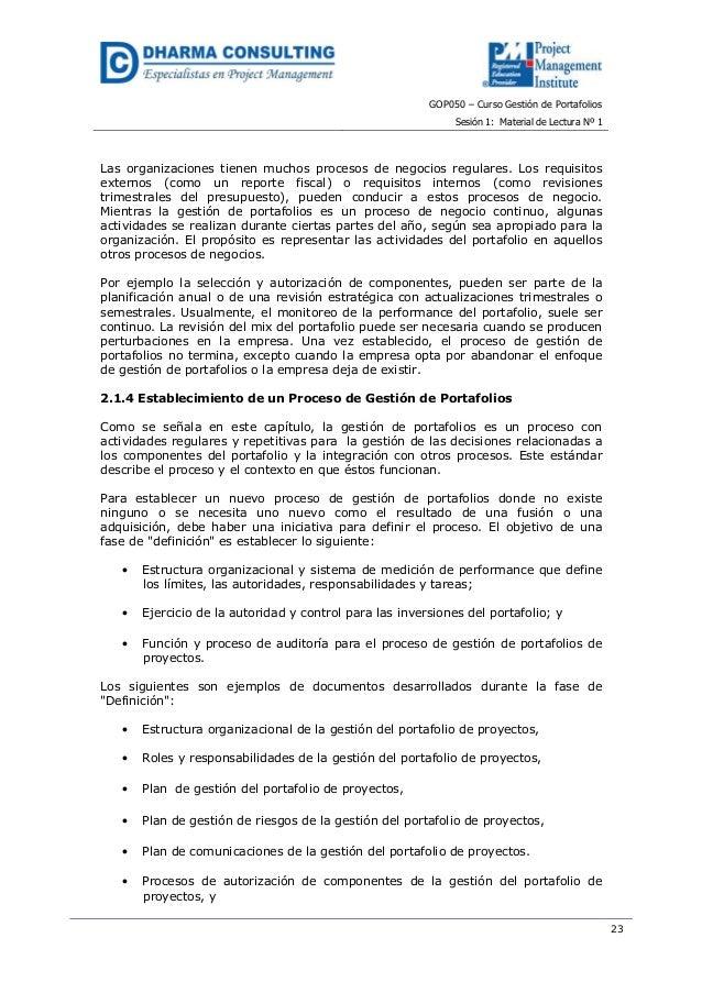 GOP050 – Curso Gestión de PortafoliosSesión 1: Material de Lectura Nº 123Las organizaciones tienen muchos procesos de nego...