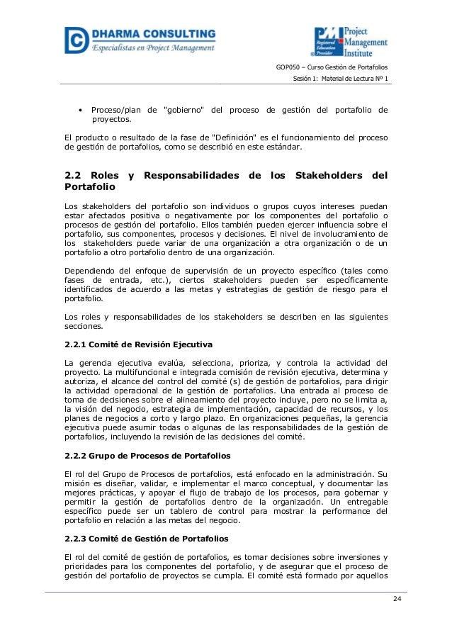 """GOP050 – Curso Gestión de PortafoliosSesión 1: Material de Lectura Nº 124• Proceso/plan de """"gobierno"""" del proceso de gesti..."""