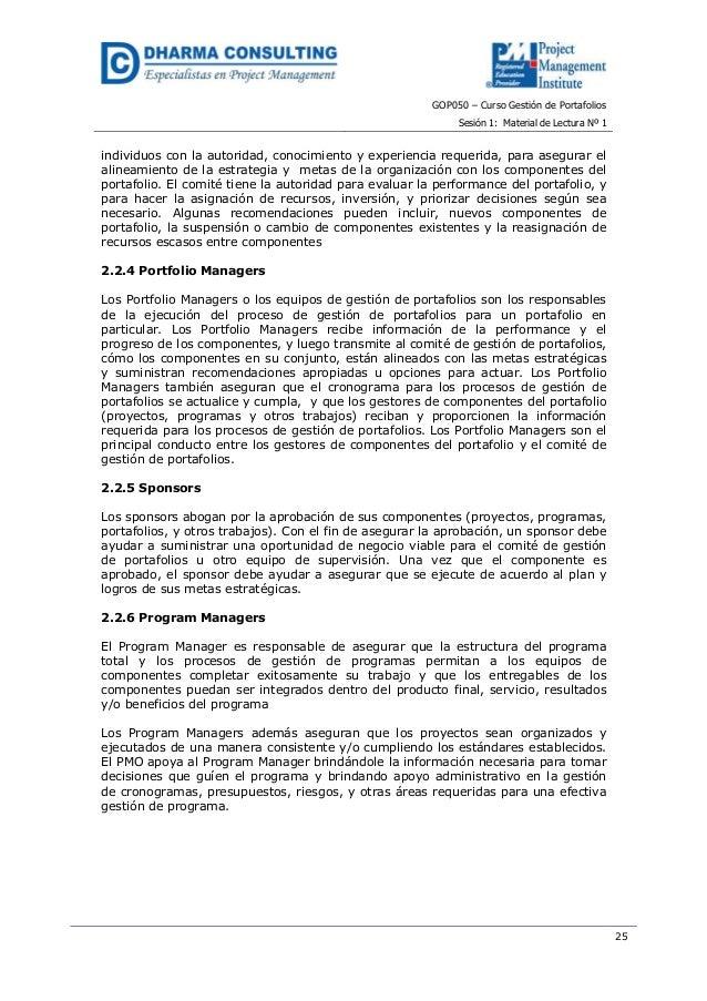 GOP050 – Curso Gestión de PortafoliosSesión 1: Material de Lectura Nº 125individuos con la autoridad, conocimiento y exper...