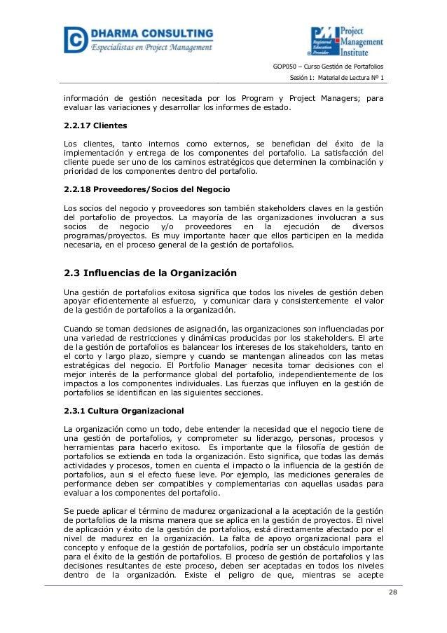 GOP050 – Curso Gestión de PortafoliosSesión 1: Material de Lectura Nº 128información de gestión necesitada por los Program...