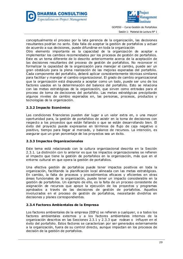 GOP050 – Curso Gestión de PortafoliosSesión 1: Material de Lectura Nº 129conceptualmente el proceso por la lata gerencia d...