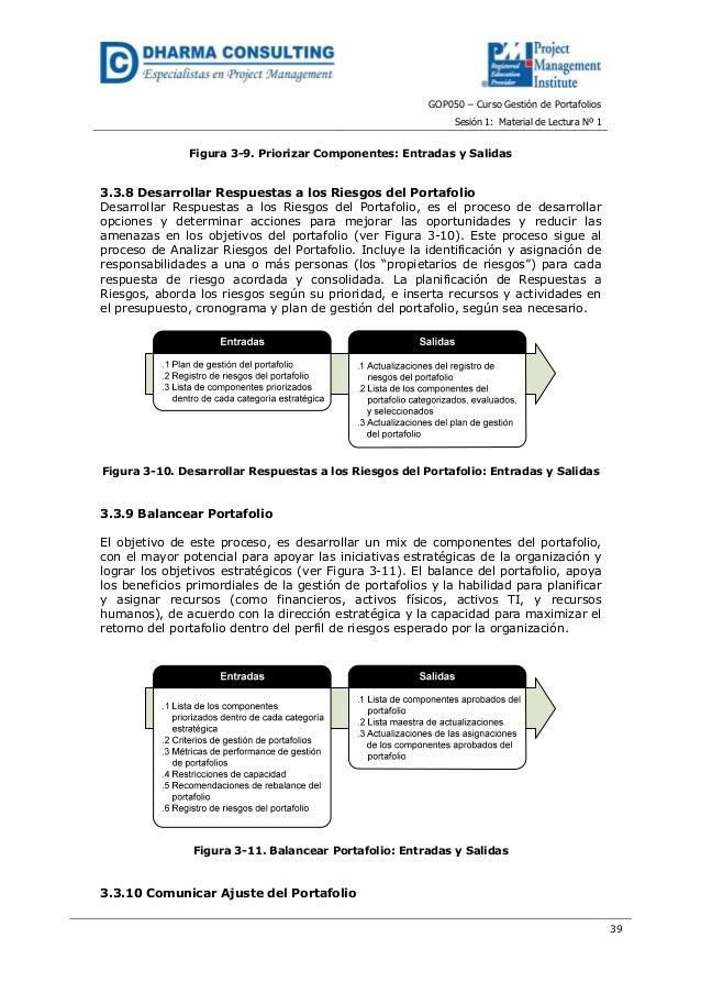 GOP050 – Curso Gestión de PortafoliosSesión 1: Material de Lectura Nº 139Figura 3-9. Priorizar Componentes: Entradas y Sal...