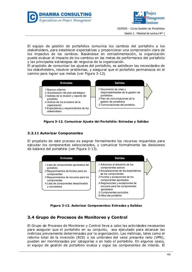 GOP050 – Curso Gestión de PortafoliosSesión 1: Material de Lectura Nº 140El equipo de gestión de portafolios comunica los ...