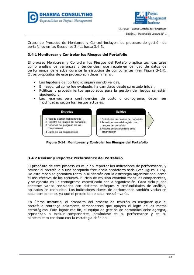 GOP050 – Curso Gestión de PortafoliosSesión 1: Material de Lectura Nº 141Grupo de Procesos de Monitoreo y Control incluyen...