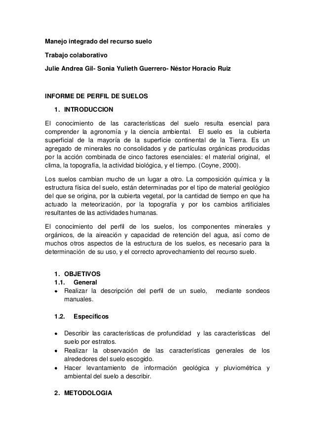 Manejo integrado del recurso sueloTrabajo colaborativoJulie Andrea Gil- Sonia Yulieth Guerrero- Néstor Horacio RuizINFORME...