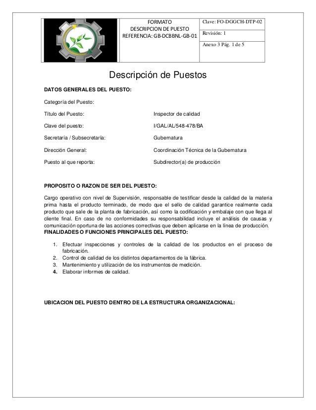 FORMATO DESCRIPCION DE PUESTO REFERENCIA: GB-DCBBNL-GB-01 Clave: FO-DGGCH-DTP-02 Revisión: 1 Anexo 3 Pág. 1 de 5 Descripci...