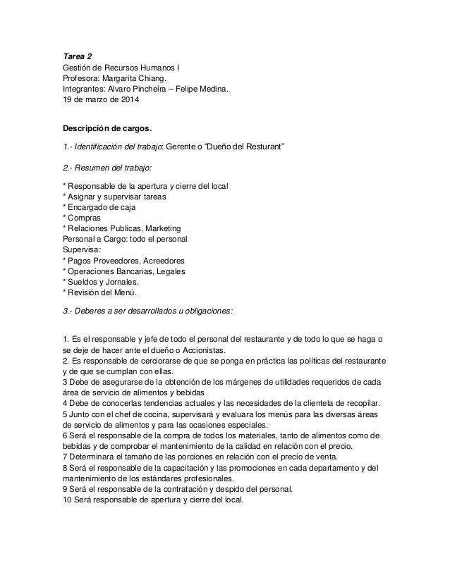 Tarea 2 Gestión de Recursos Humanos I Profesora: Margarita Chiang. Integrantes: Alvaro Pincheira – Felipe Medina. 19 de ma...