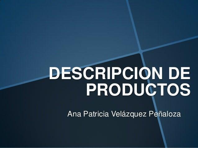 DESCRIPCION DE PRODUCTOS Ana Patricia Velázquez Peñaloza