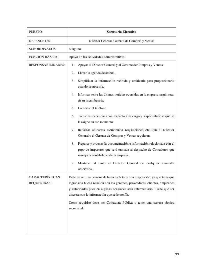 Descripcion de puestos de una empresa Slide 3