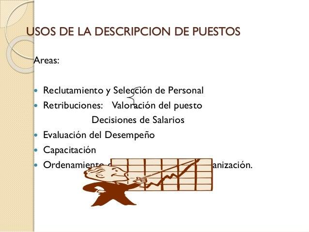 USOS DE LA DESCRIPCION DE PUESTOS Areas: Reclutamiento y Selección de Personal  Retribuciones: Valoración del puesto Deci...
