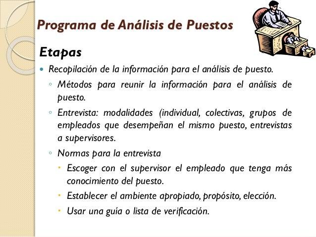 Programa de Análisis de Puestos  Etapas   Recopilación de la información para el análisis de puesto. ◦ Métodos para reuni...