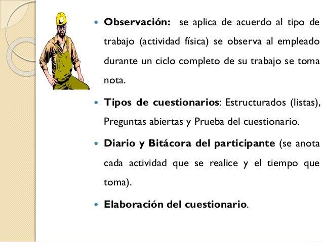   Observación: se aplica de acuerdo al tipo de trabajo (actividad física) se observa al empleado  durante un ciclo comple...