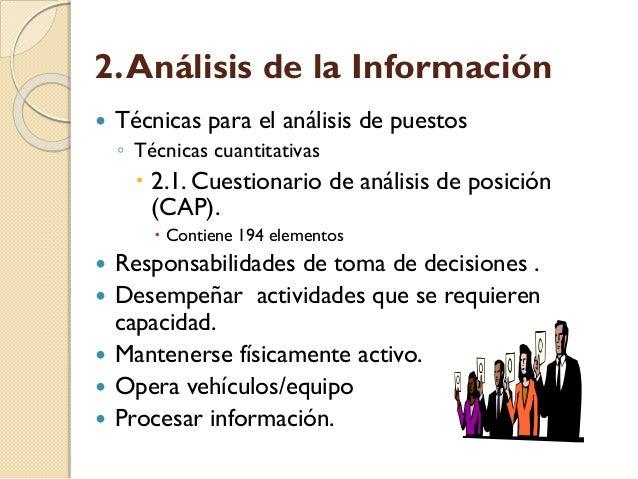 2. Análisis de la Información   Técnicas para el análisis de puestos ◦ Técnicas cuantitativas   2.1. Cuestionario de aná...