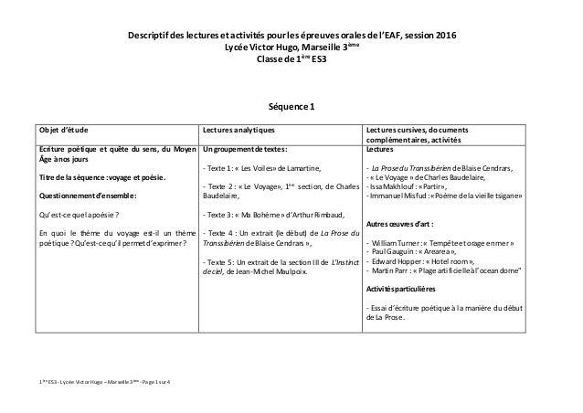 1ère ES3 -Lycée Victor Hugo –Marseille 3ème -Page 1sur4 Descriptif des lectures et activités pour les épreuves orales de l...