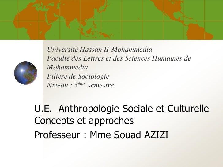 Université Hassan II-Mohammedia  Faculté des Lettres et des Sciences Humaines de  Mohammedia  Filière de Sociologie  Nivea...