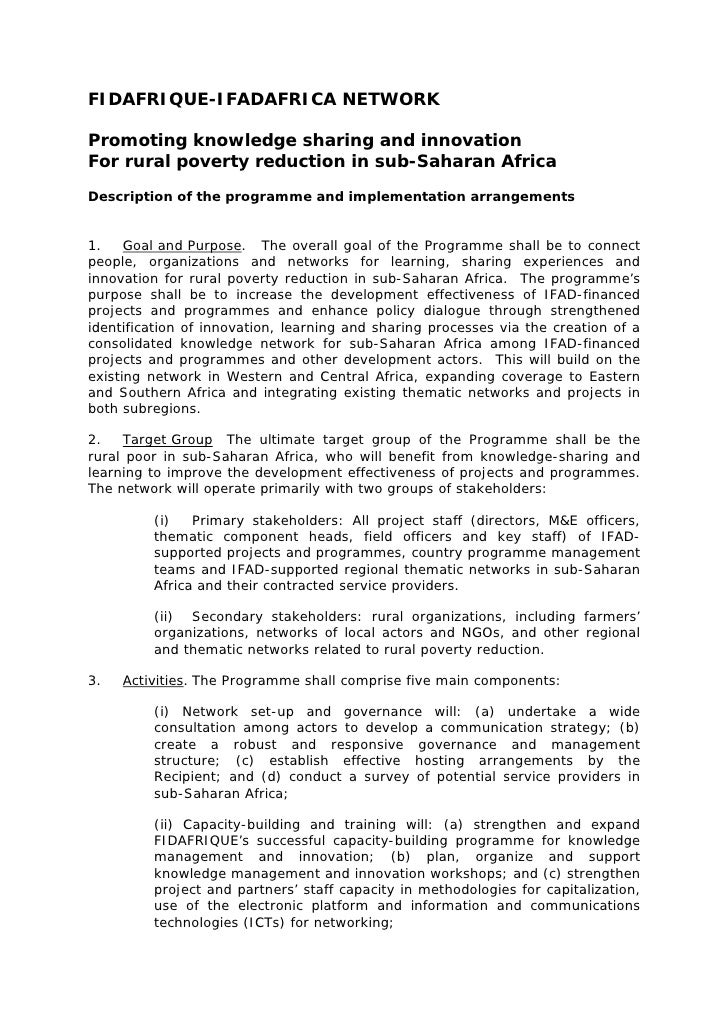 FIDAFRIQUE-IFADAFRICA NETWORK  Promoting knowledge sharing and innovation For rural poverty reduction in sub-Saharan Afric...