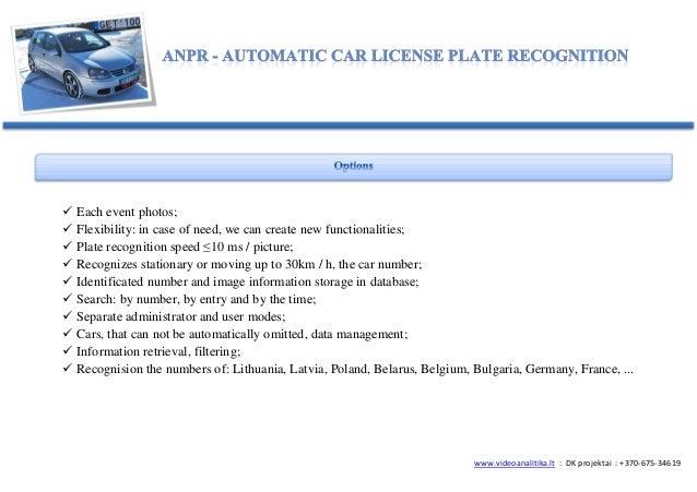 ANPR/LPR license plate recognition Slide 3