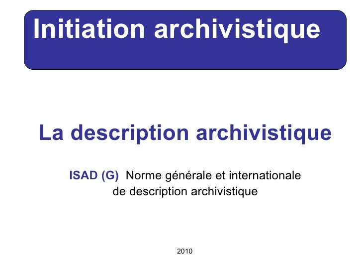 Description archivistique