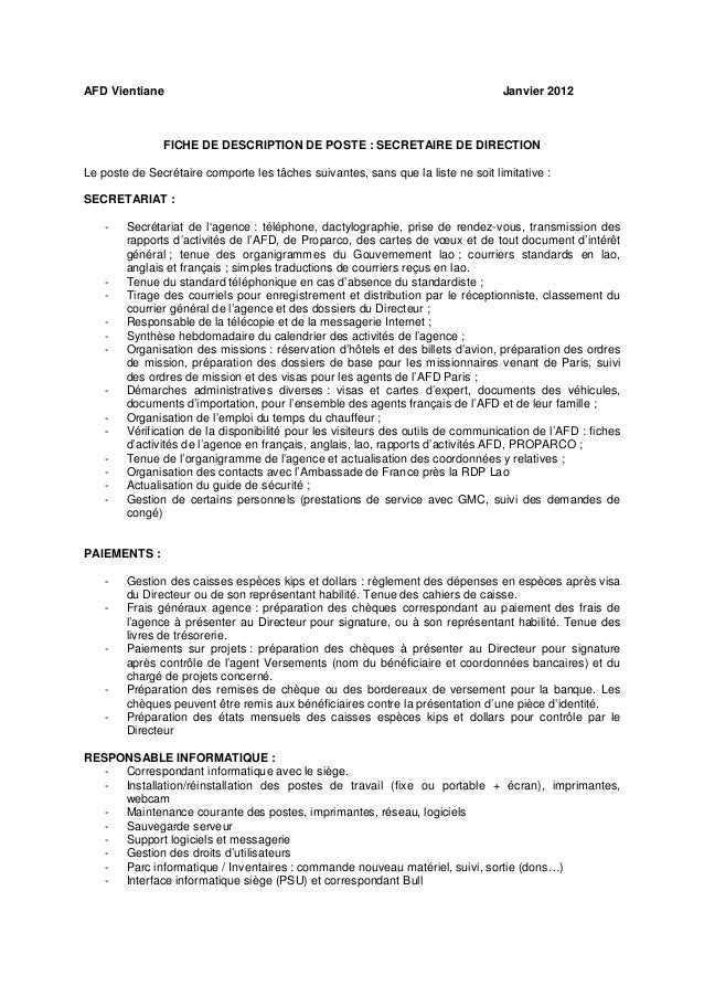 description de poste de secr 233 taire de direction