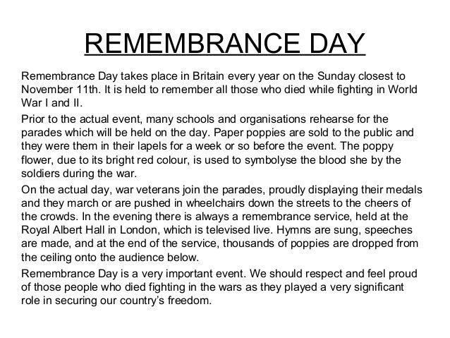 A Description Of A Festival Remembrance Day Remembrance  Essays On Science also Project Ghost Writer  Sample Essay Topics For High School