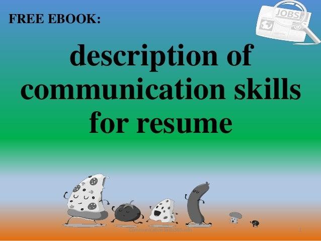 communication skills description resumes - Selo.l-ink.co