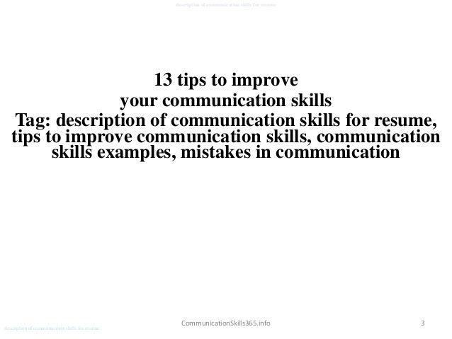 Description Of Communication Skills For Resume Pdf