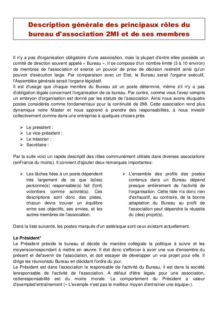 Description principaux rles dun bureau dassociation