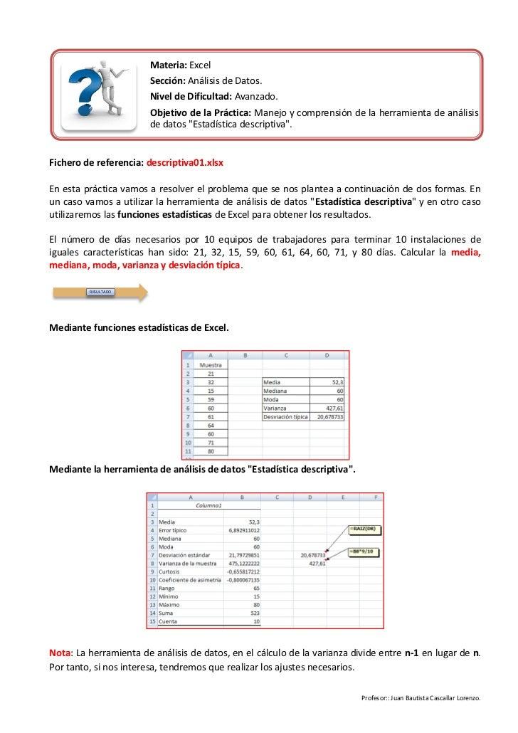 Materia: Excel                       Sección: Análisis de Datos.                       Nivel de Dificultad: Avanzado.     ...