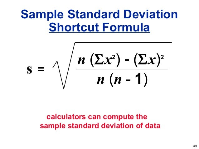 sample standard deviation examples | Example