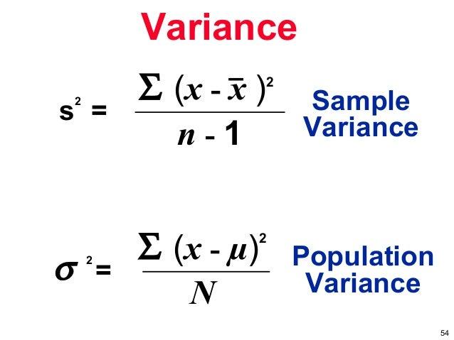 Population variance symbol – Sample Variance
