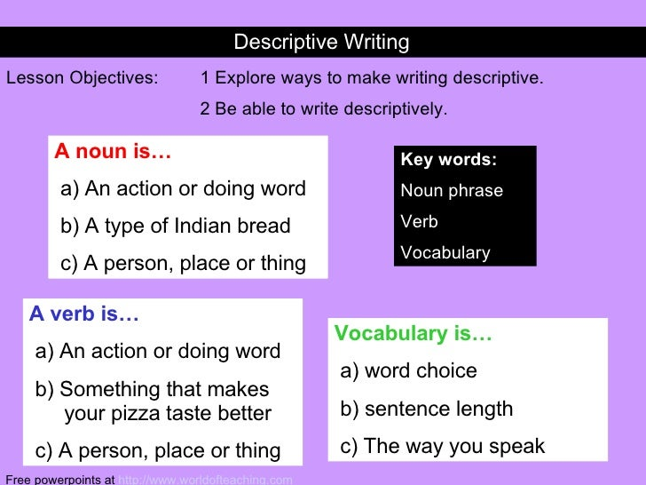 Descriptive Writing Lesson Objectives: 1 Explore ways to make writing descriptive. 2 Be able to write descriptively. Key w...