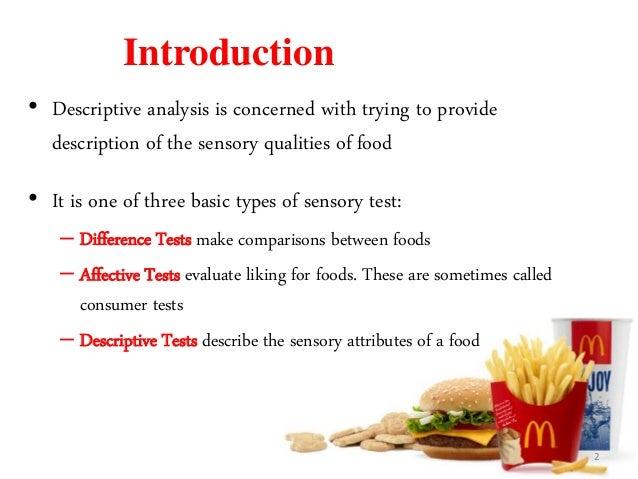 Descriptive analysis for sensory evaluation