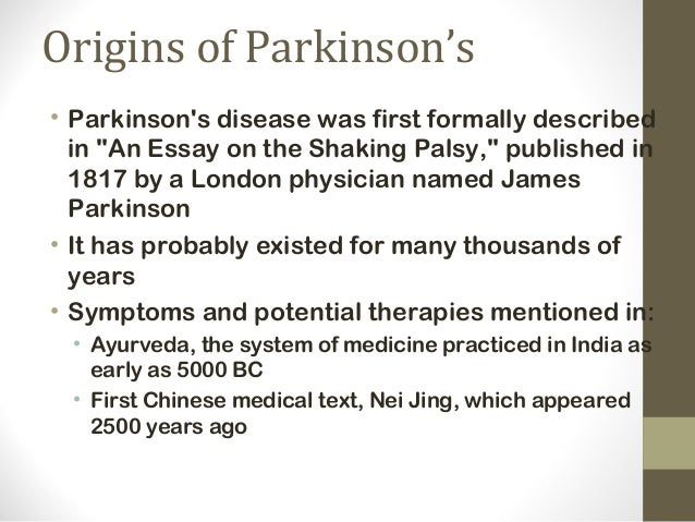 the history and description of the parkinsons disease