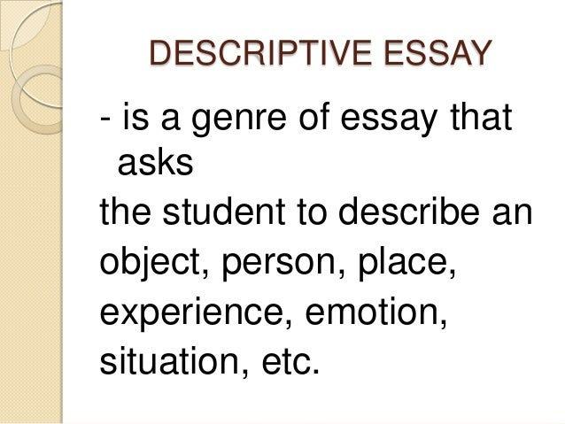 descriptive essay my racing heart What is the purpose of a descriptive essay a descriptive essay is written in order to get the reader to understand something through the use of descriptive language.