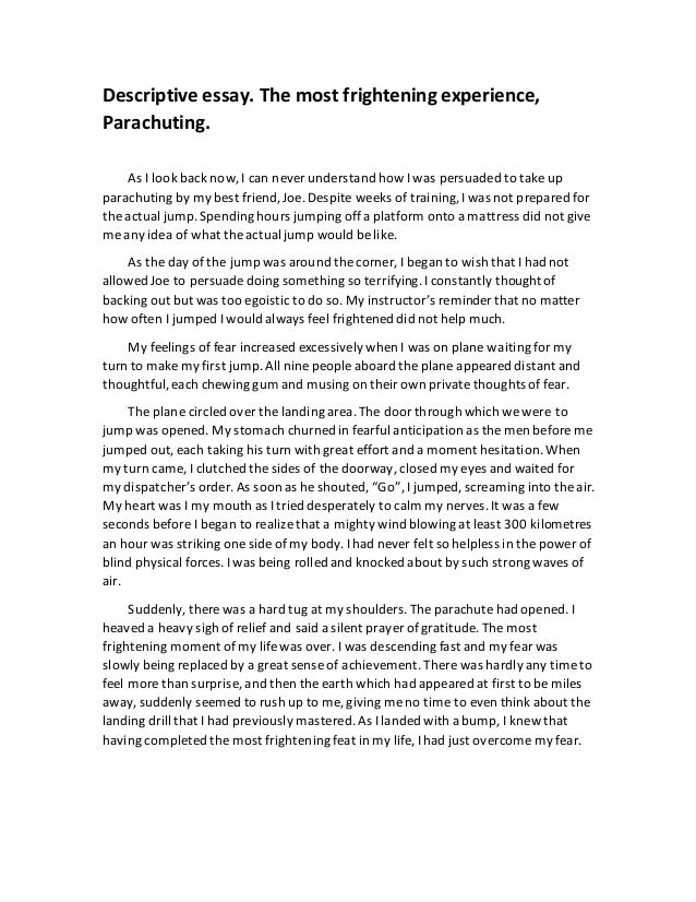 a frightening experience essay 200 words