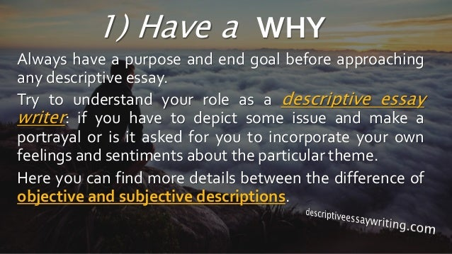 Descriptive essay writing topics