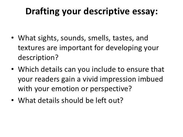 Descriptive essay powerpoint presentation