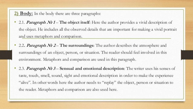 components of a good descriptive essay