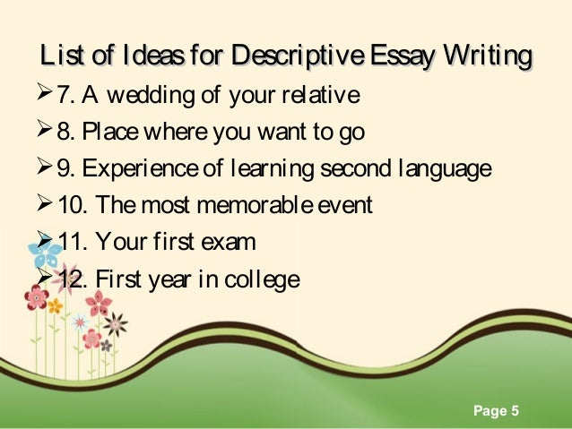 Ideas for a descriptive essay