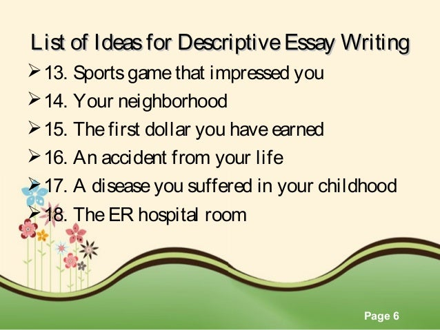 Descriptive essay hospital