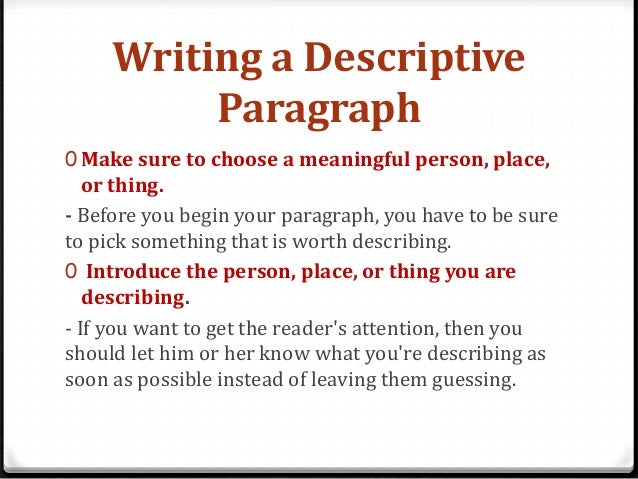 Descriptive Text Examples
