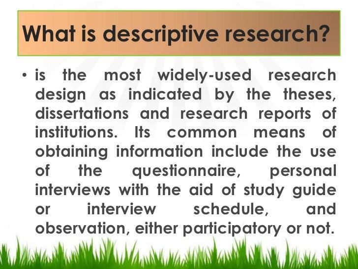 Descriptive study dissertation